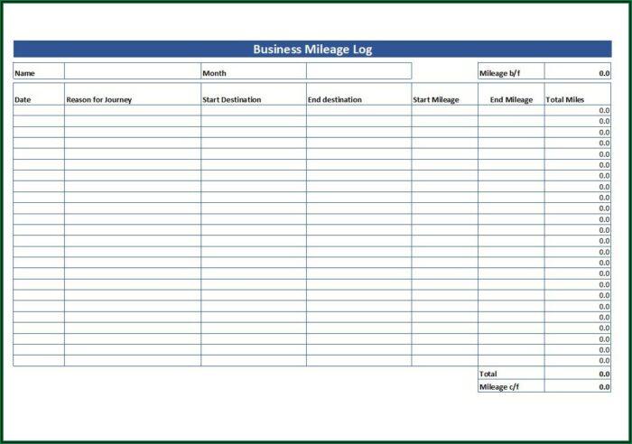 Vehicle Mileage Log Book Template