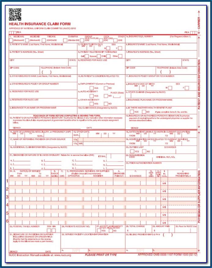 Veterans Affairs Medical Claim Form