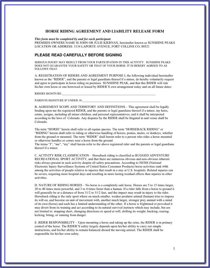Virginia Equine Liability Release Form