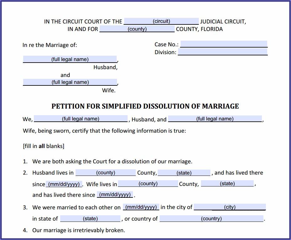 Volusia County Divorce Filing