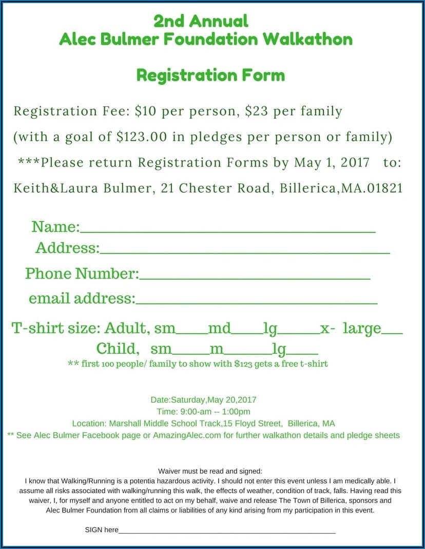 Walk A Thon Registration Form Template