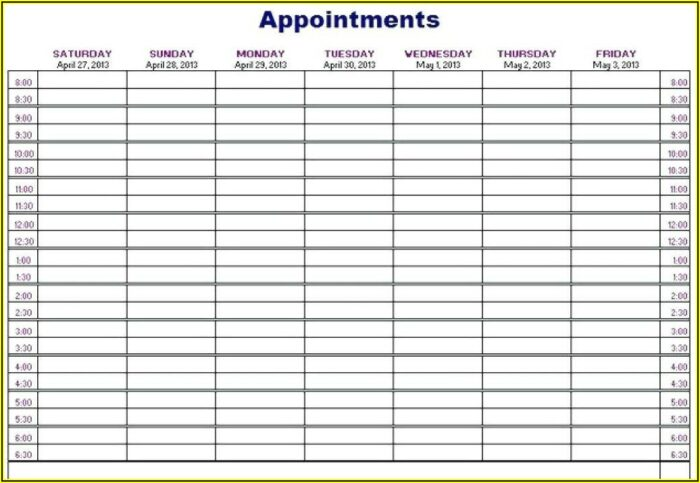 Weekly Appointment Planner Template Download
