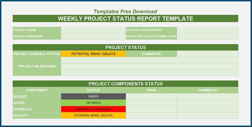 Weekly Project Status Report Template Excel Free Download