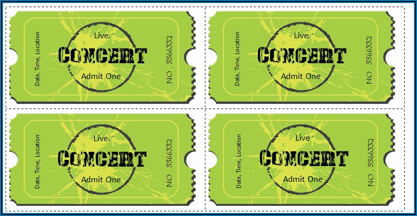 Word Template For Concert Tickets