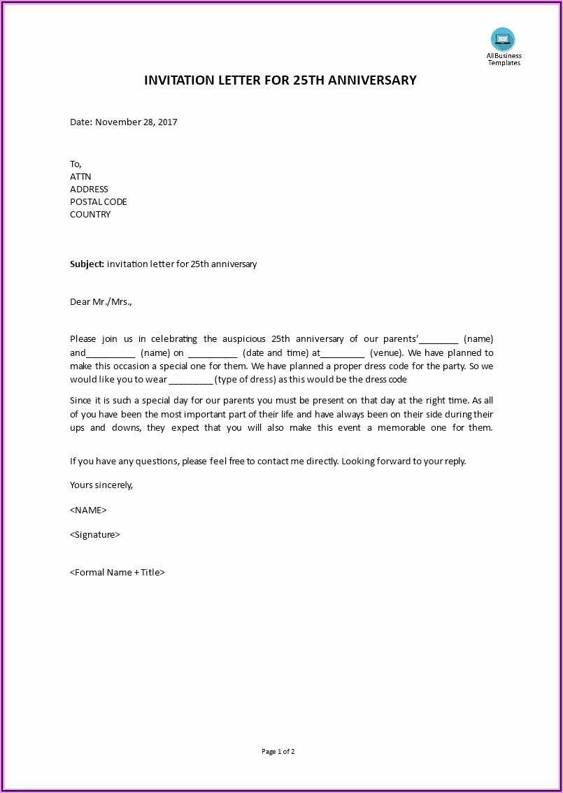 25th Wedding Anniversary Invitation Templates Microsoft Word