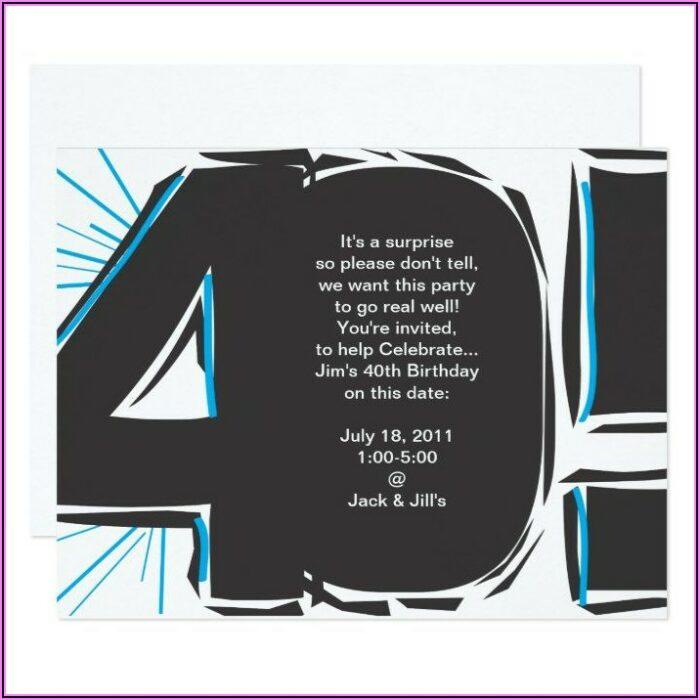 40th Surprise Party Invitation Wording
