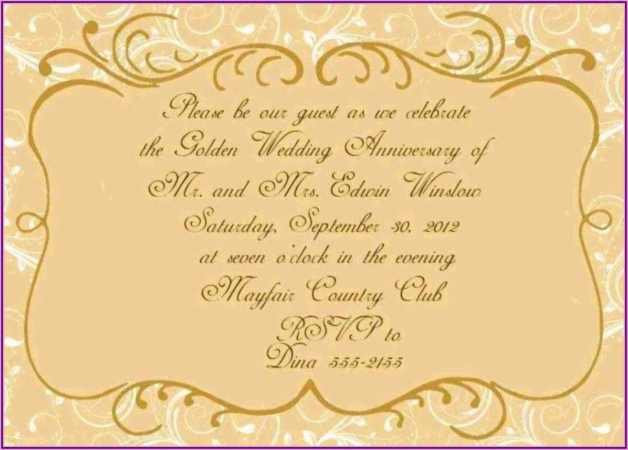 50th Anniversary Party Invitation Wording