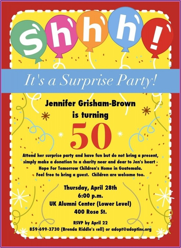 50th Birthday Surprise Invitation Wording