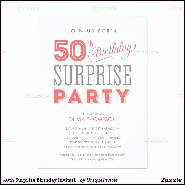 50th Surprise Party Invitation Wording