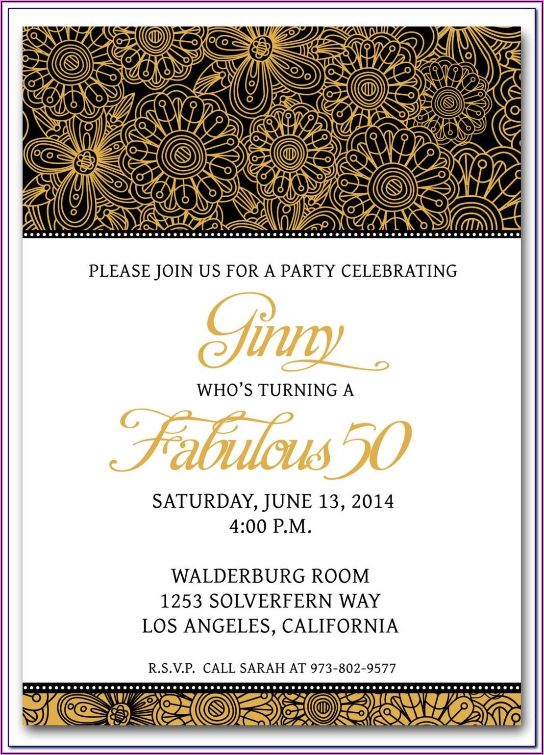 50th Wedding Anniversary Party Invitation Wording