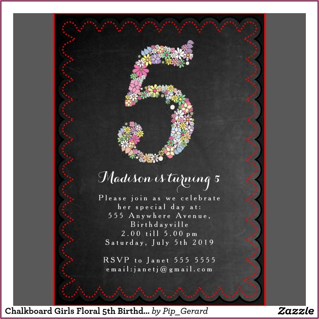 5th Birthday Invitation Message