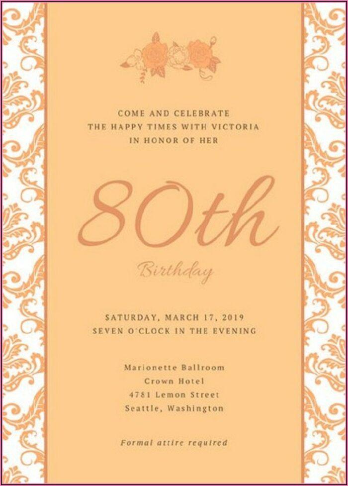 80th Birthday Invitations Templates