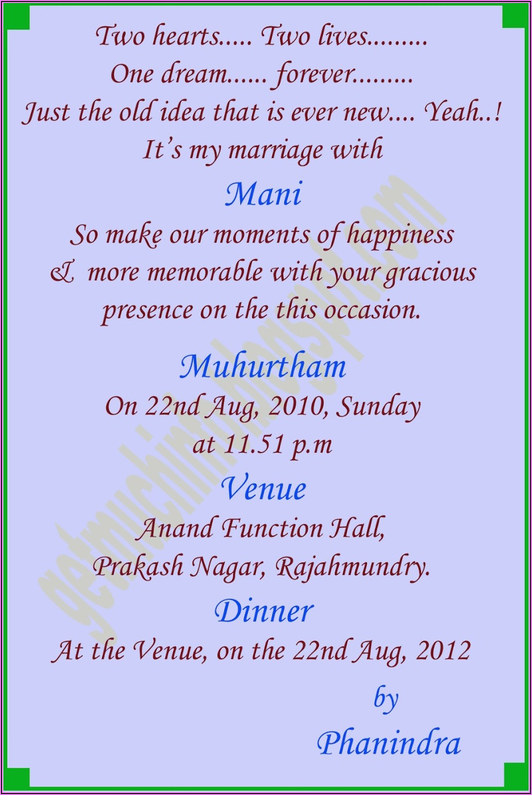 Arranged Marriage Wedding Invitation Wording For Friends