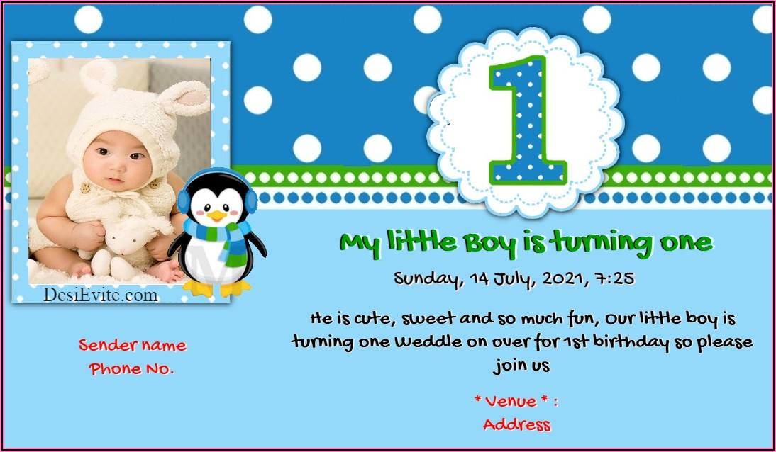 Baby Girl First Birthday Invitation Card Online Free