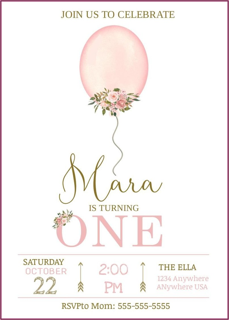 Baby Girl First Birthday Invitation