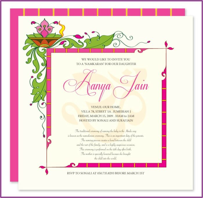 Baby Naming Ceremony Invitation Message
