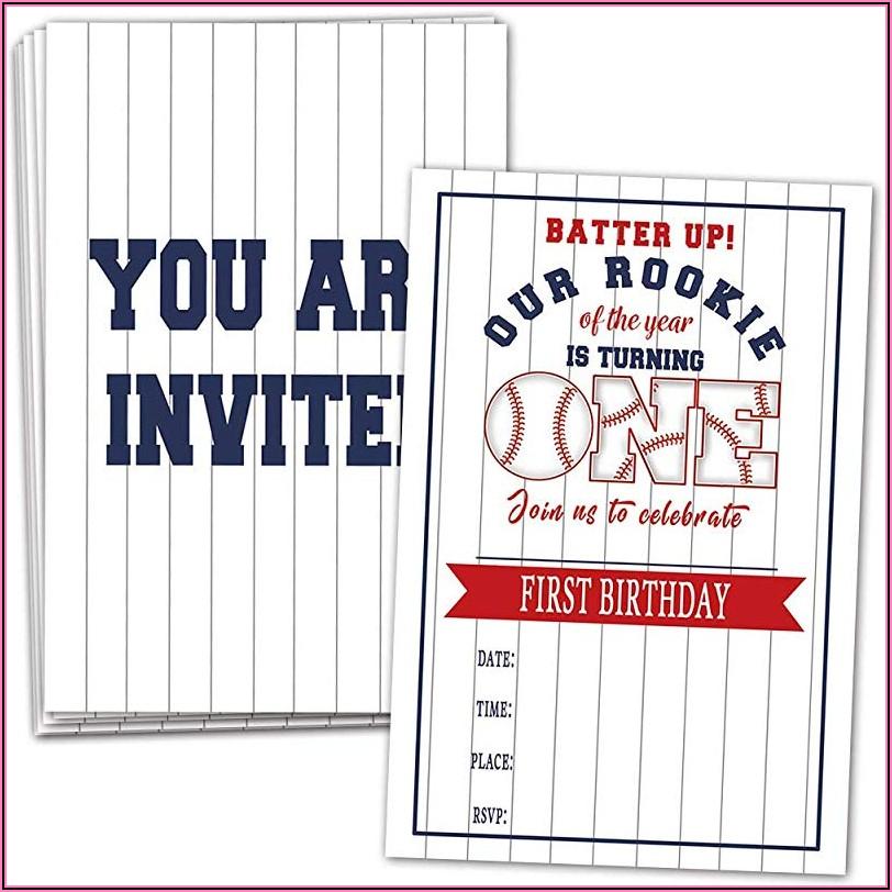 Baseball First Birthday Party Invitations