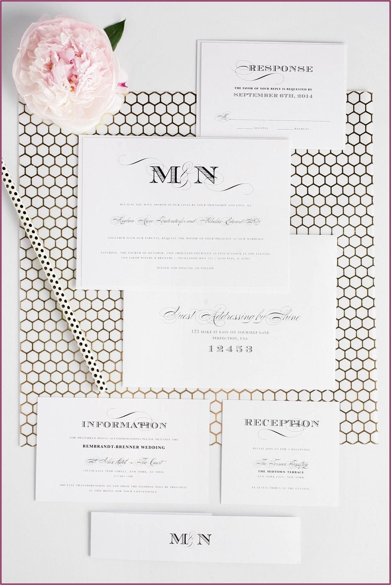 Black And White Wedding Invitations Elegant