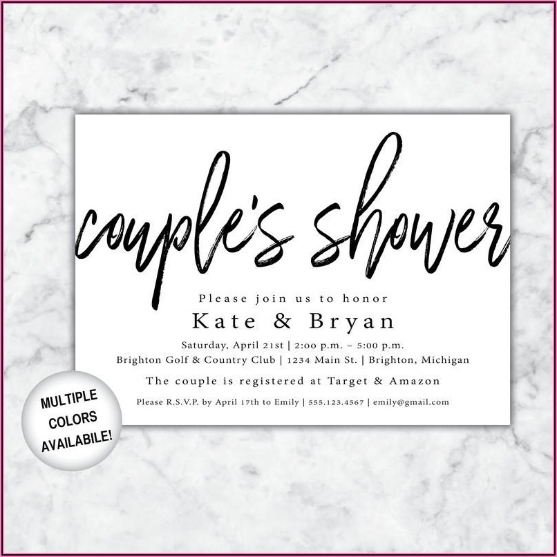 Black And White Wedding Shower Invitations