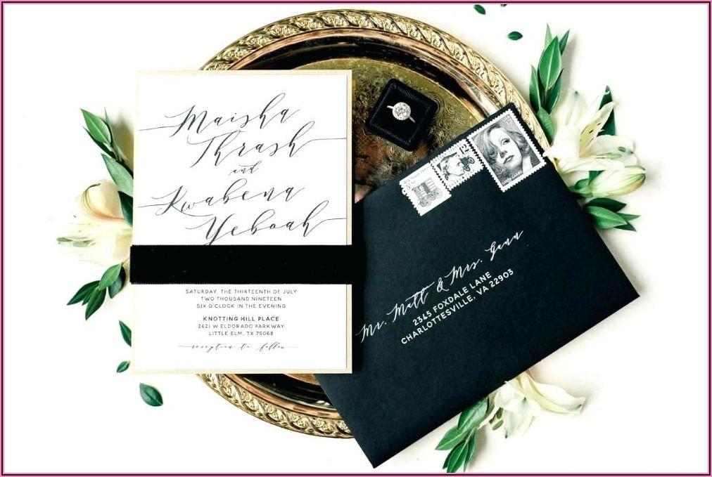 Black Gold And White Wedding Invitations