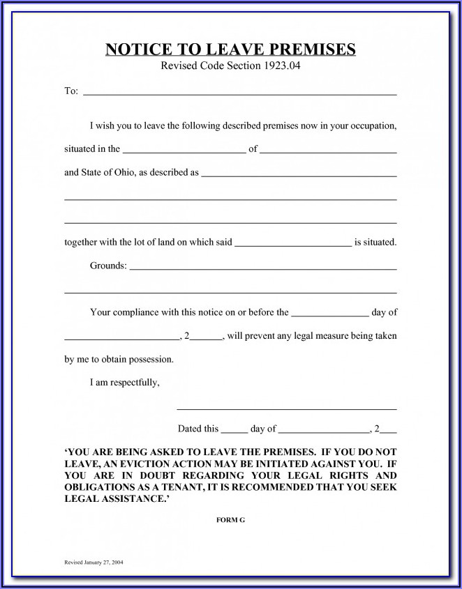 Blank Copy Of An Eviction Notice Form