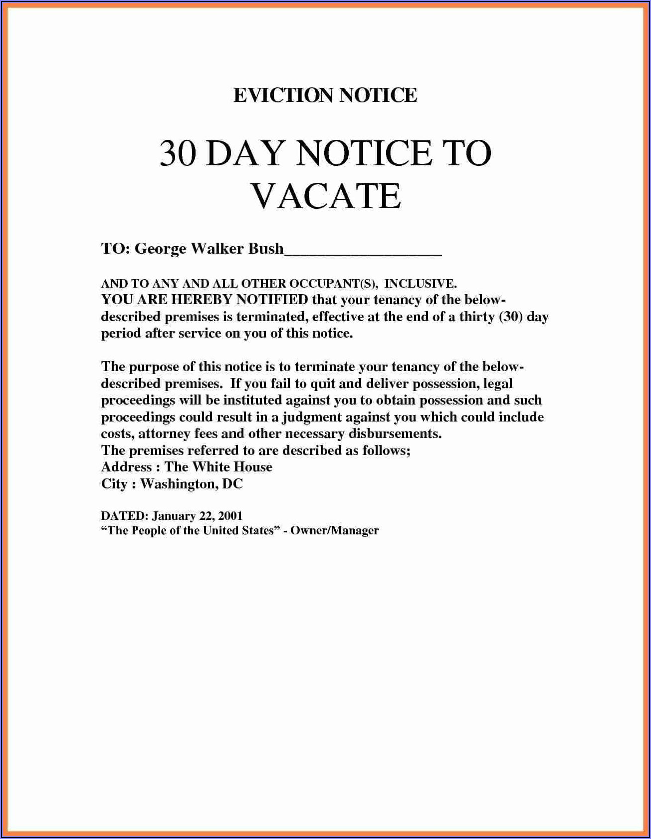 Blank Eviction Notice Form