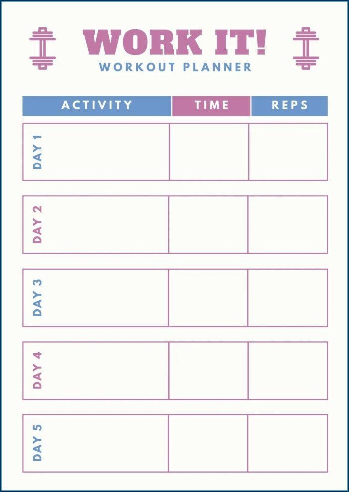 Blank Workout Plan Template