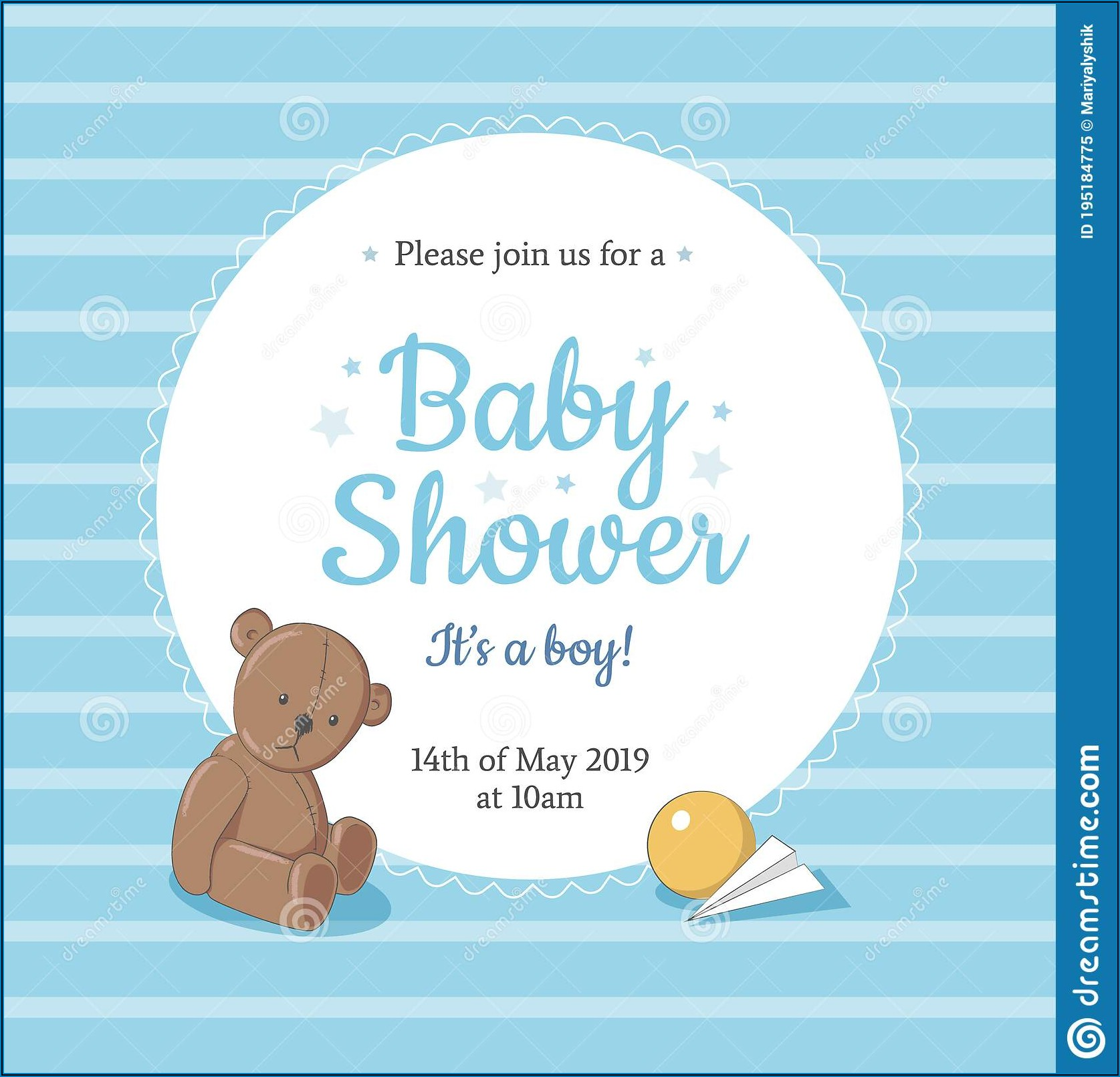 Blue Teddy Bear Invitation Templates