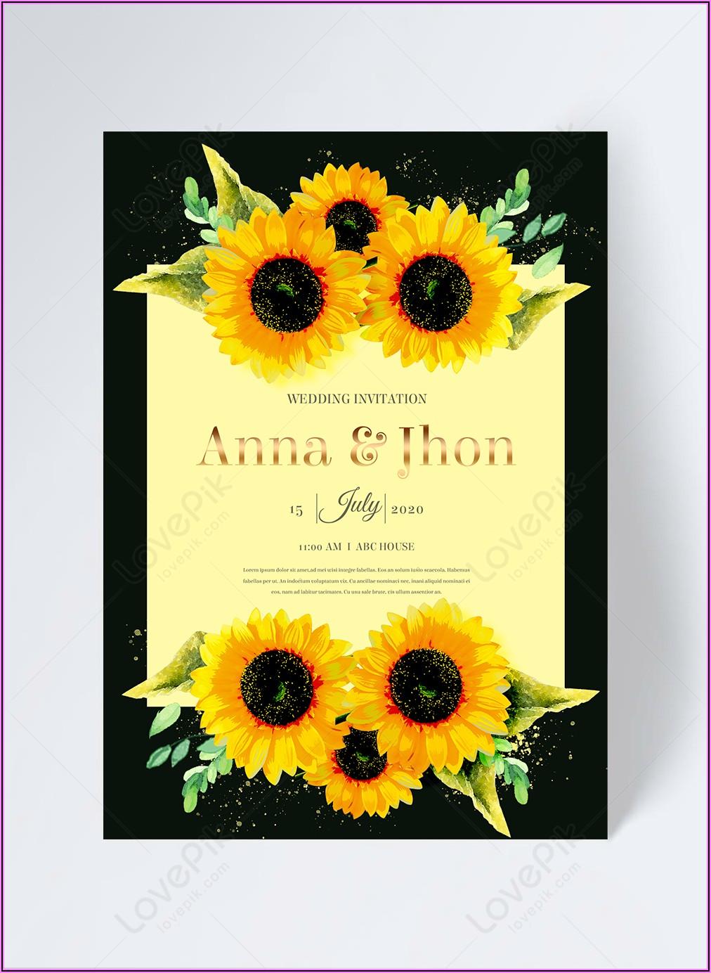 Border Sunflower Invitation Template Free
