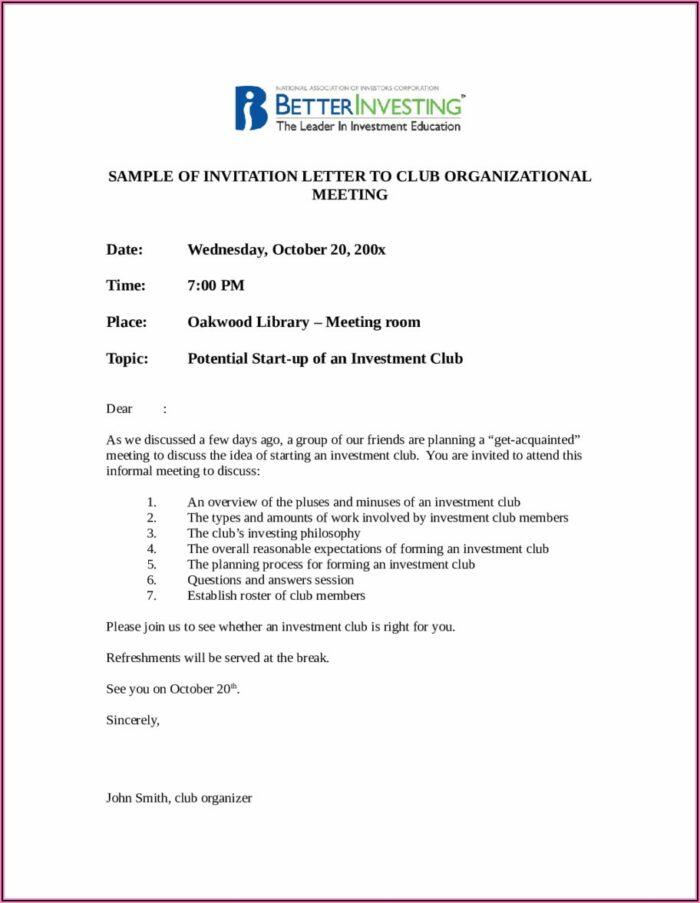 Business Meeting Invitation Letter Sample