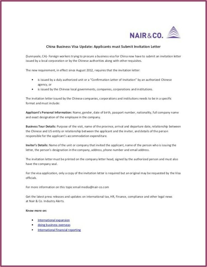 Business Visa Invitation Letter Sample Usa