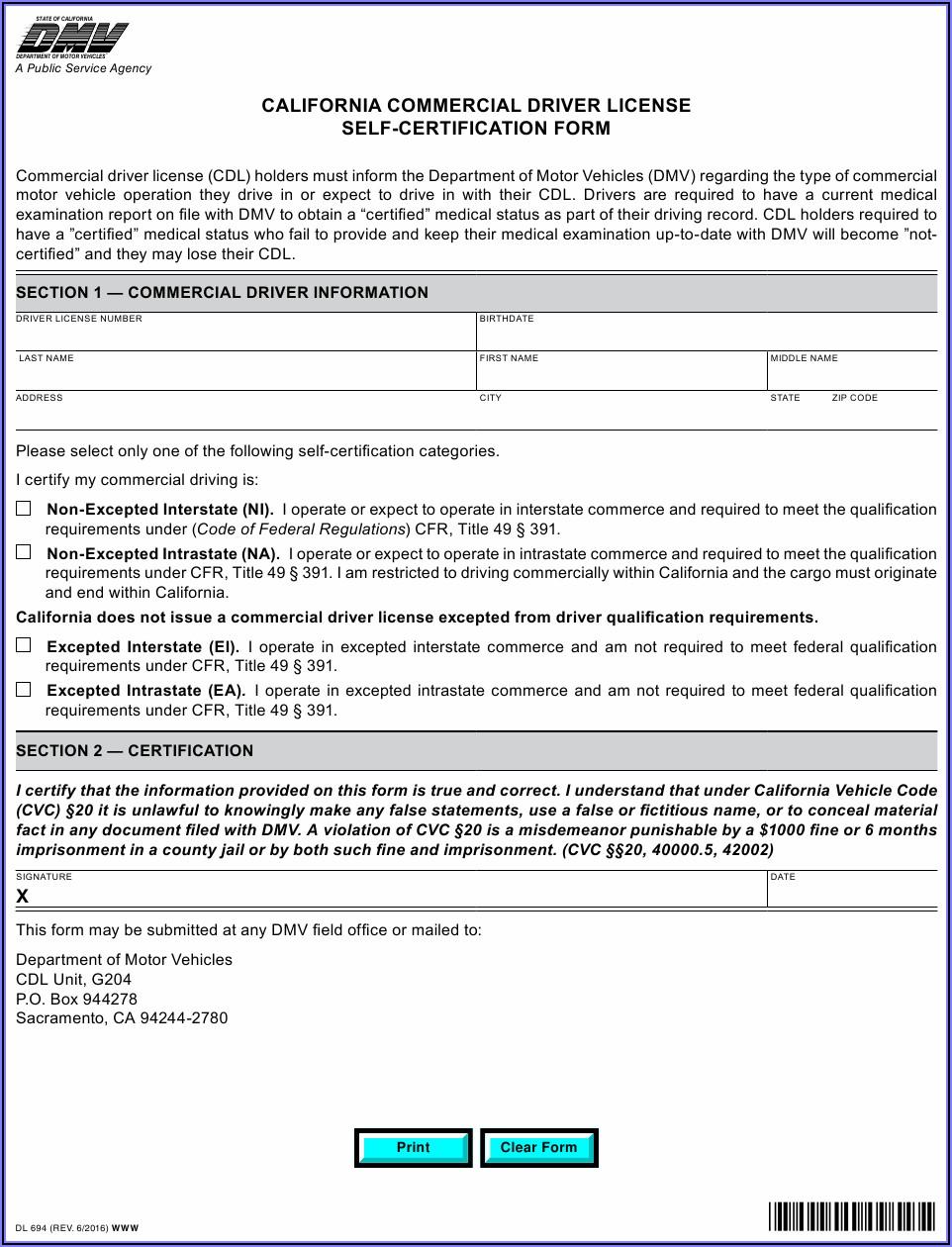 Ca Cdl Medical Exam Form
