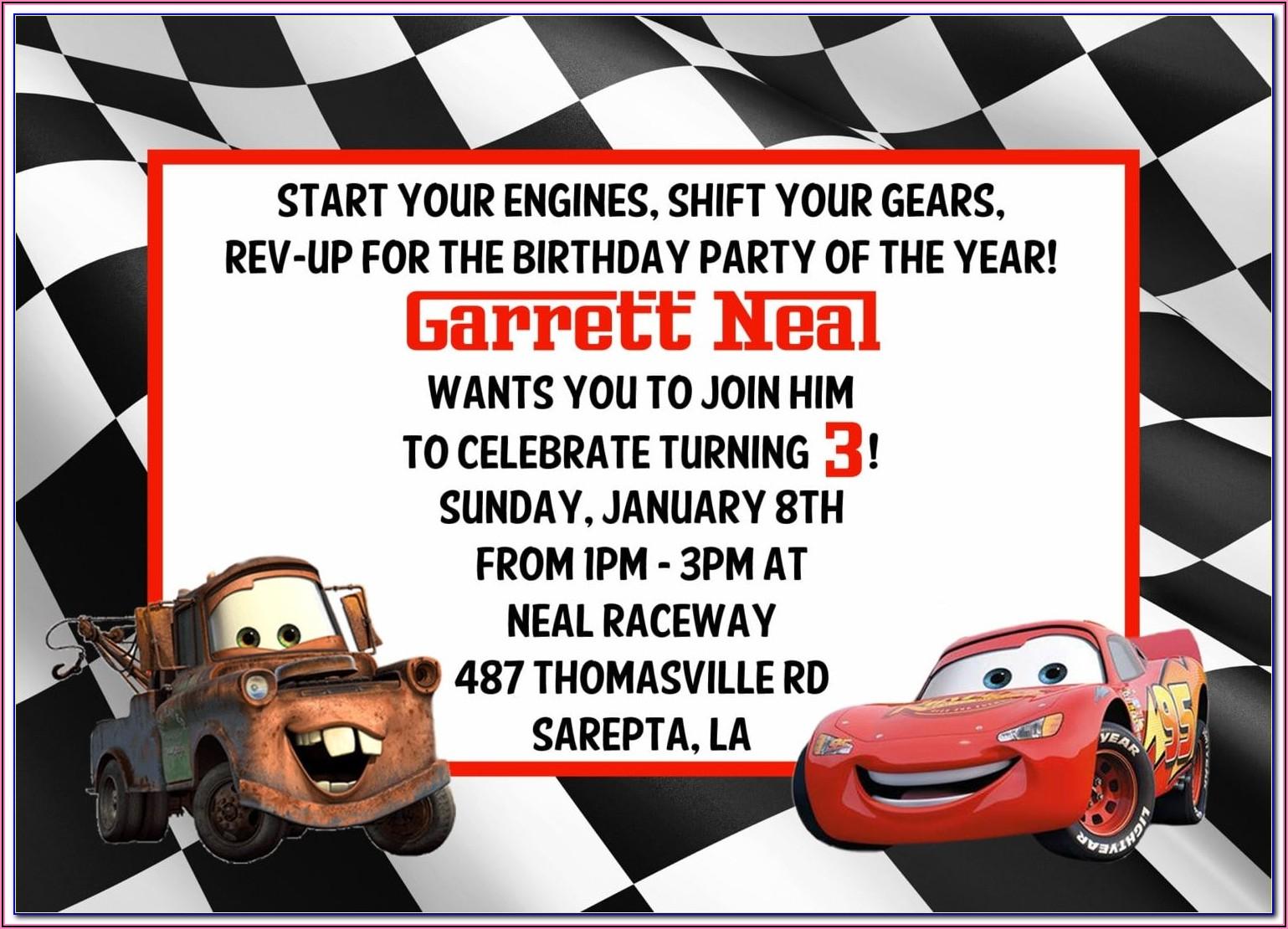 Cars Invitation Template Editable