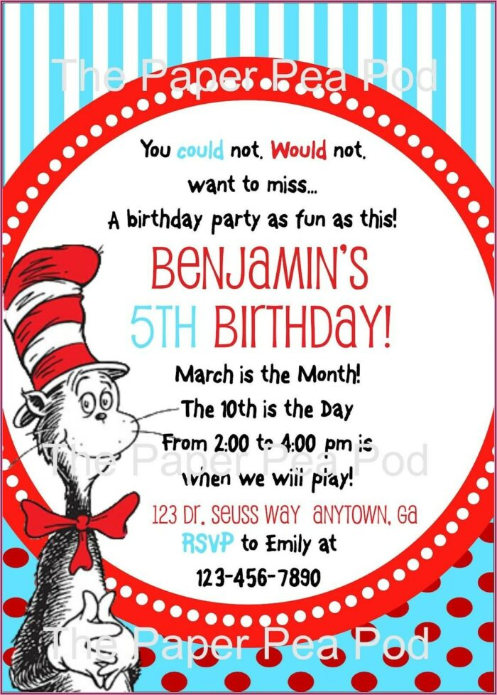 Cat In The Hat Birthday Invitations Free Printable
