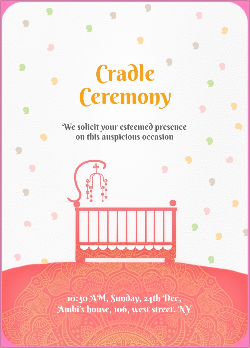 Cradle Ceremony Invitation Card For Baby Girl Free Download