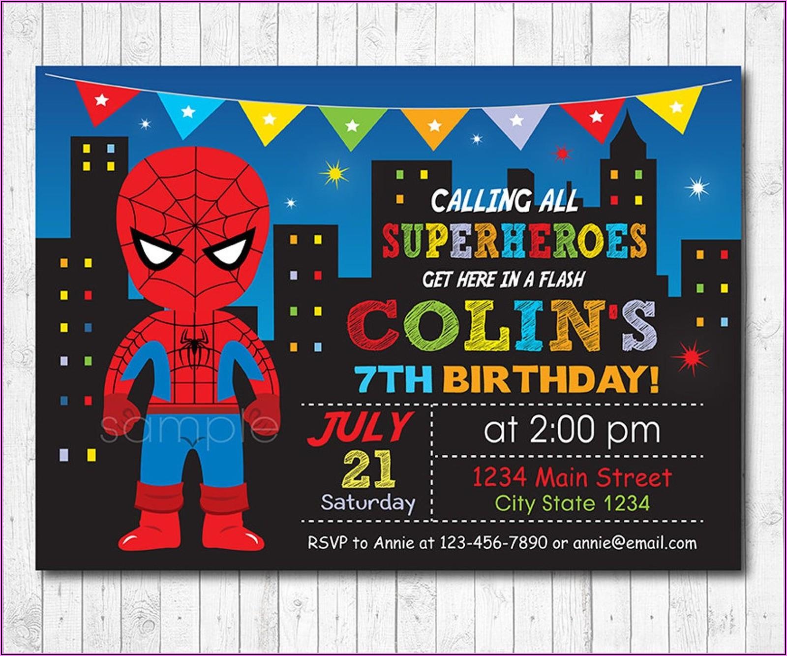 Editable Spiderman Invitation Template