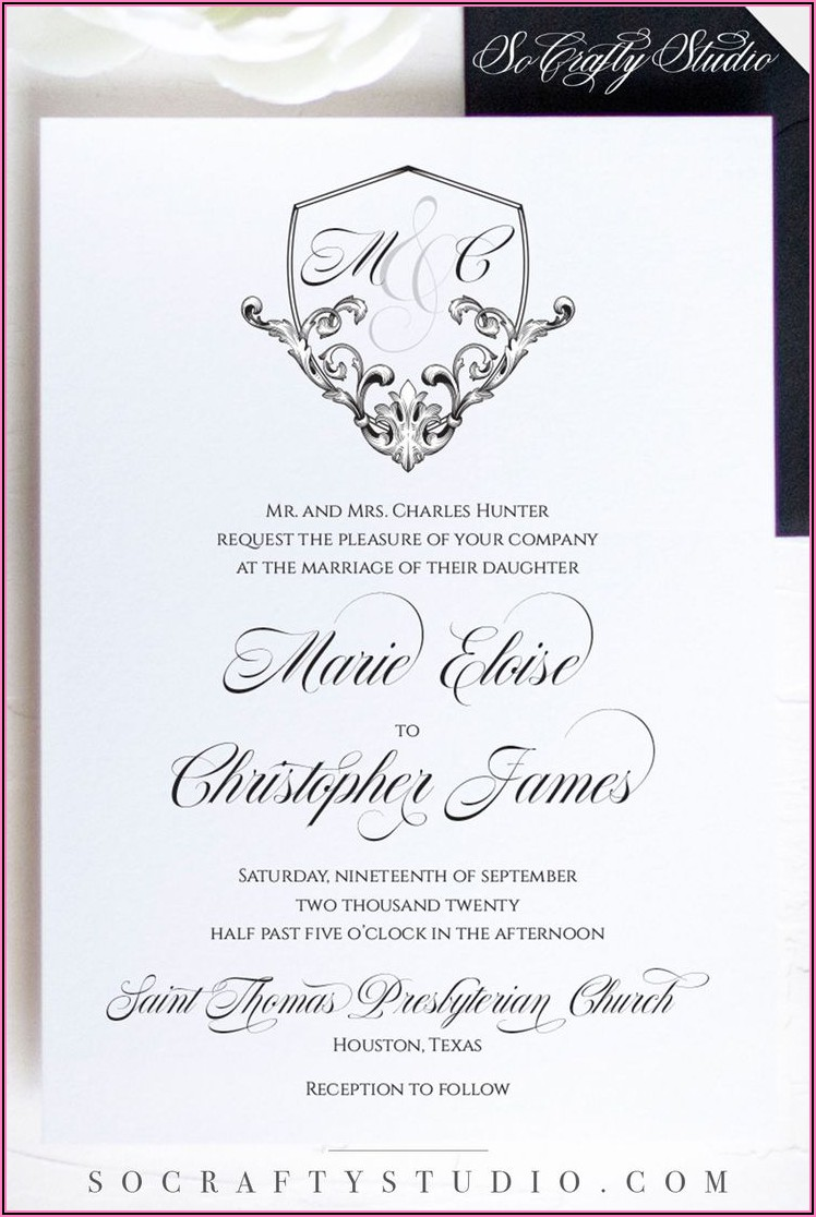 Elegant Black White Wedding Invitations
