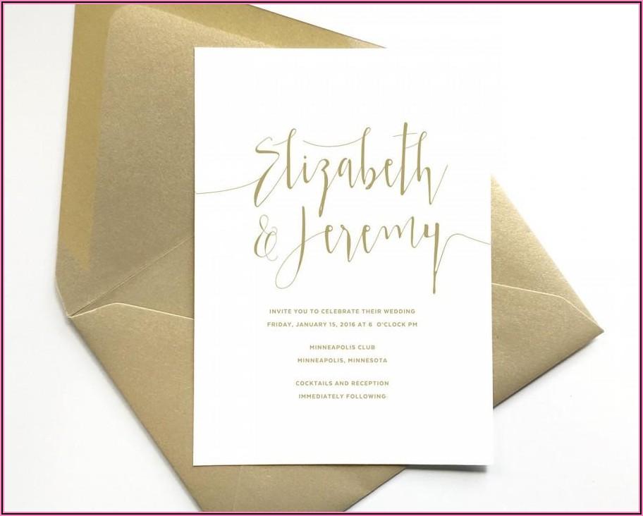 Elegant Gold And White Wedding Invitations