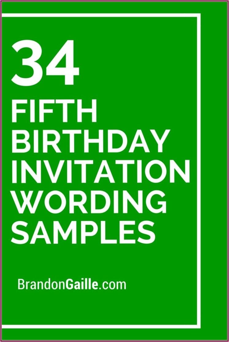 Fifth Birthday Invitation Message