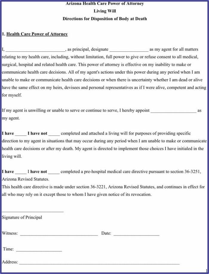 Free Arizona Health Care Directive Form