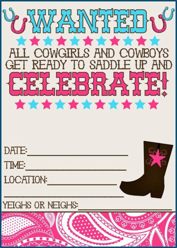 Free Cowgirl Invitation Template