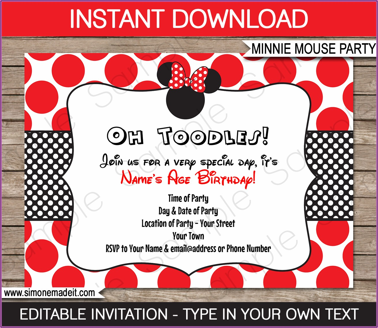 Free Editable Red Minnie Mouse Invitations