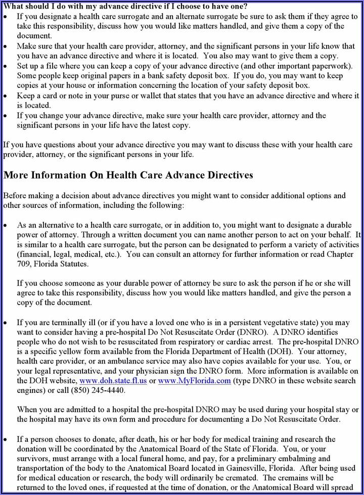 Free Health Care Directive Form Florida