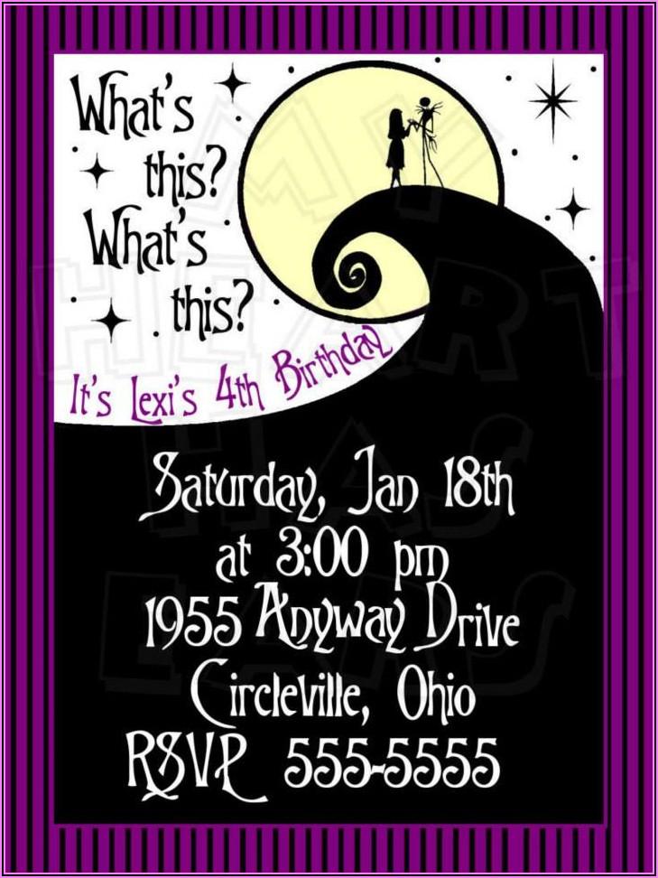 Free Nightmare Before Christmas Birthday Invitations