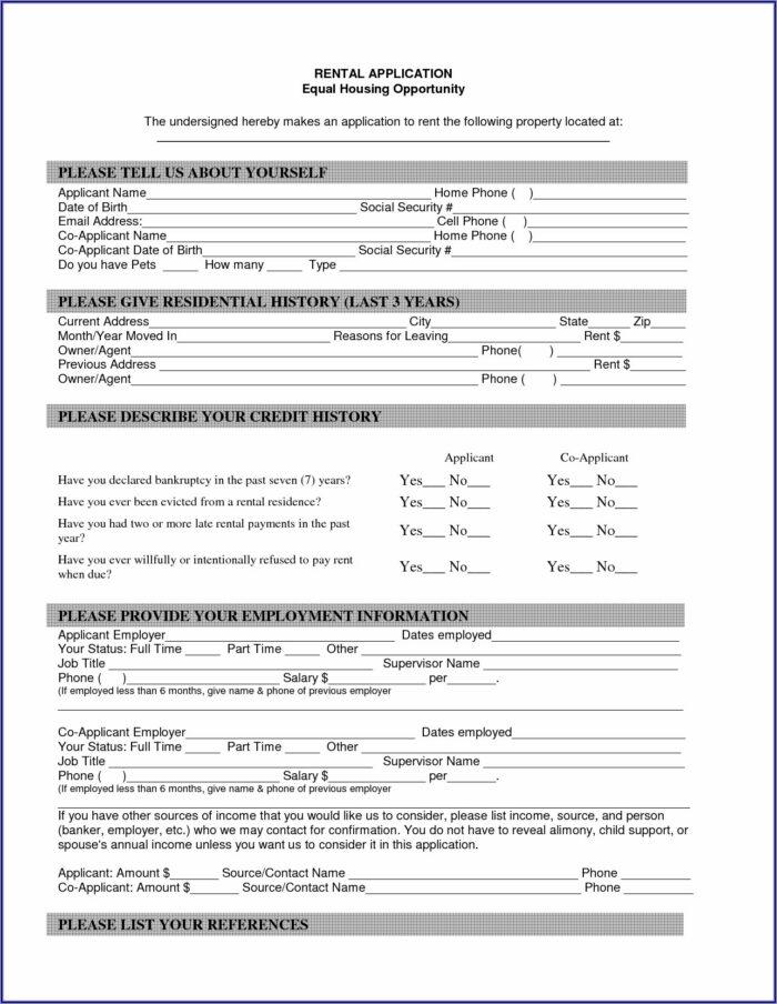 Free Printable House Rental Application Form