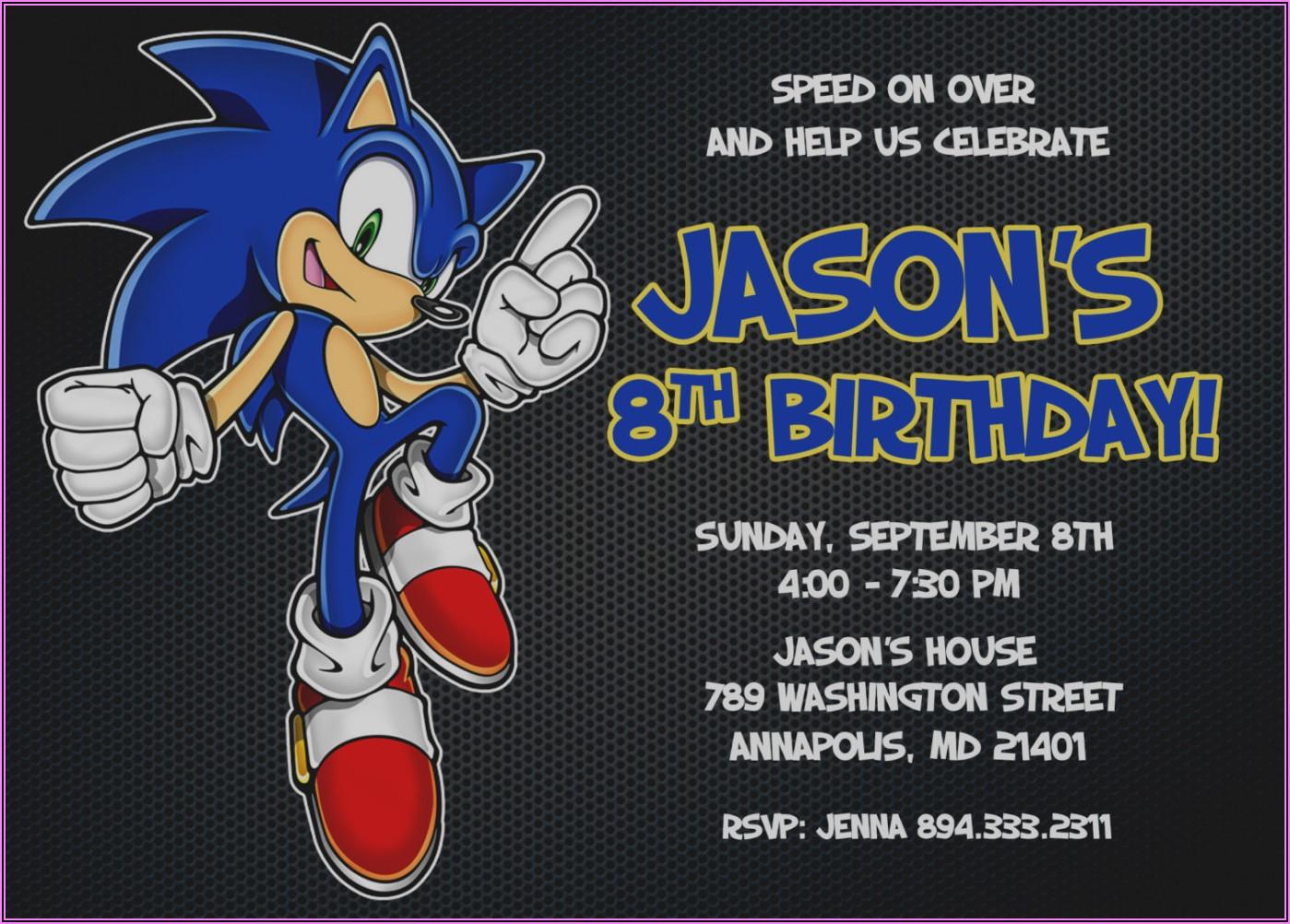 Free Printable Sonic The Hedgehog Birthday Invitations