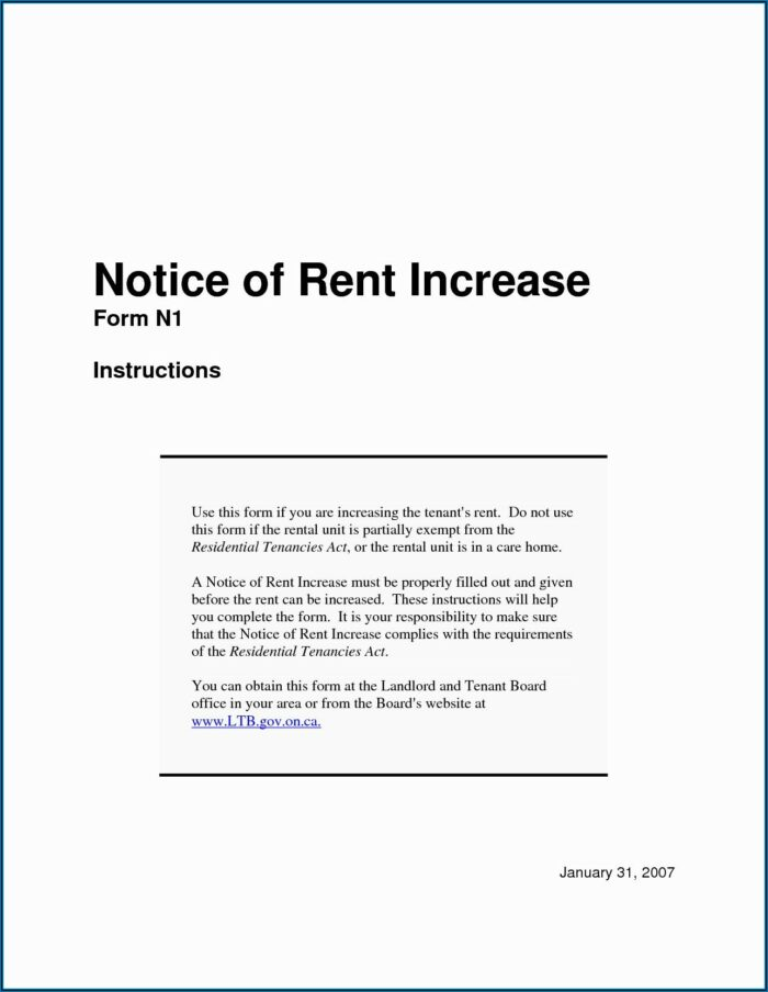 Free Rent Increase Letter Template Uk