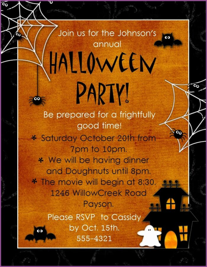 Halloween Birthday Invitation Templates Microsoft Word