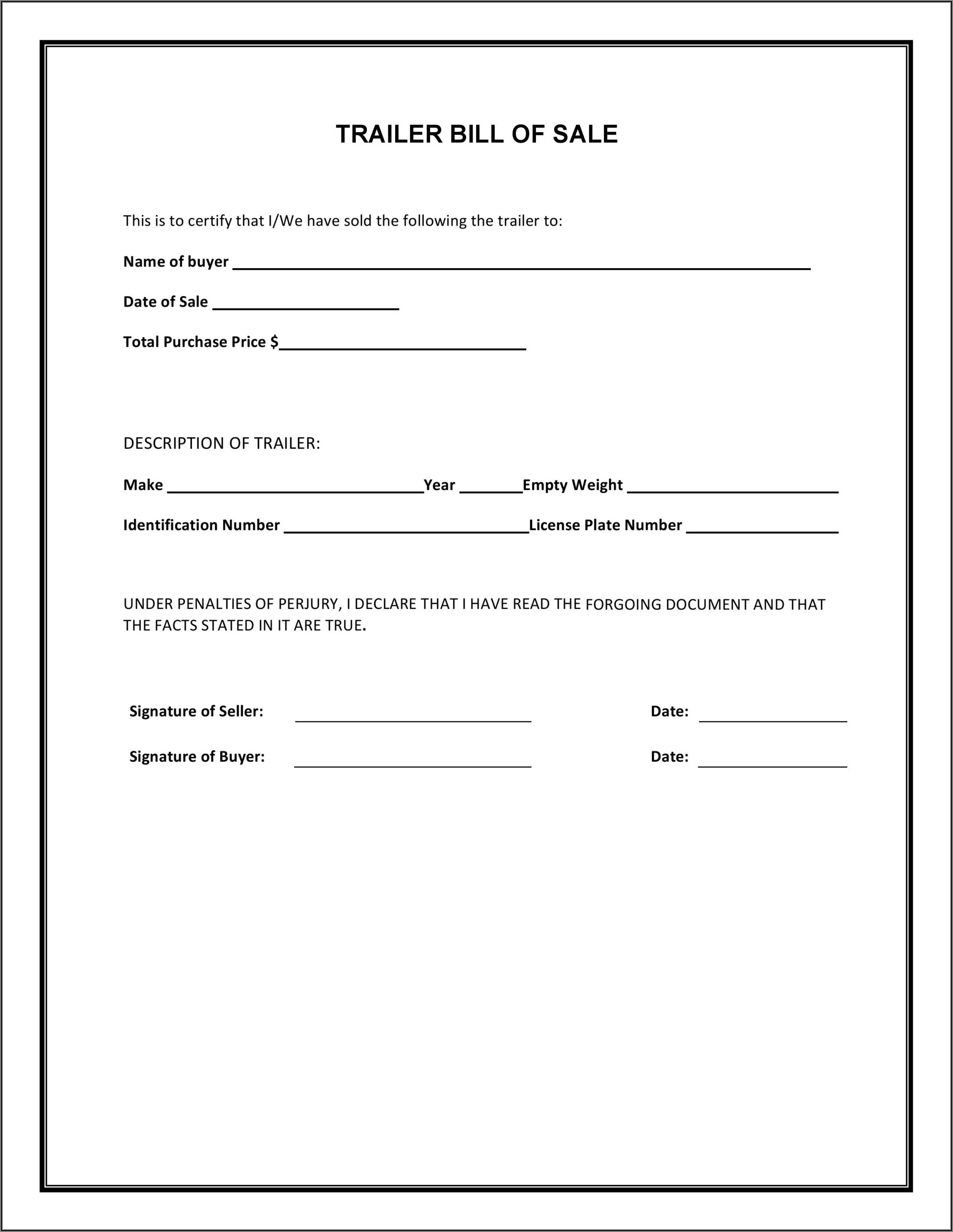 Horse Bill Of Sale Form Simple