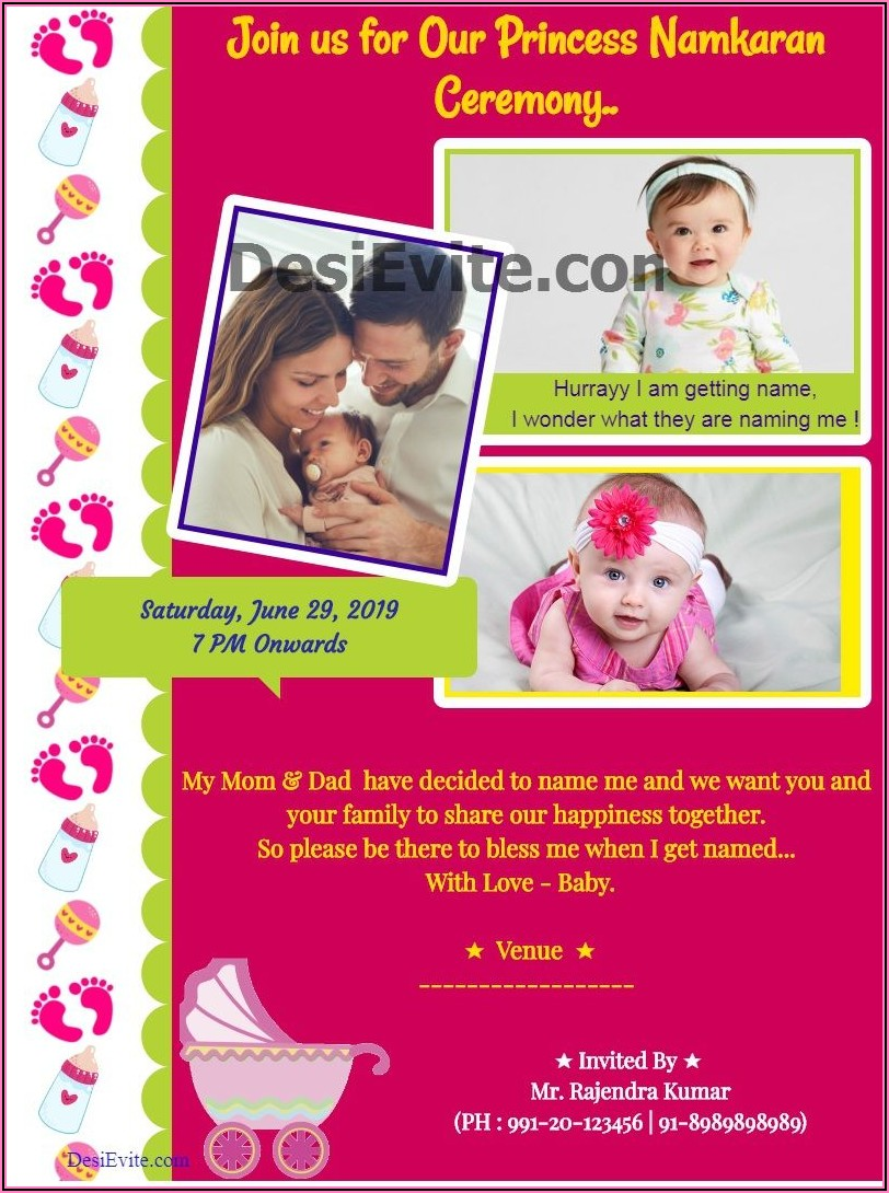 Indian Naming Ceremony Invitation Card Template Free Download
